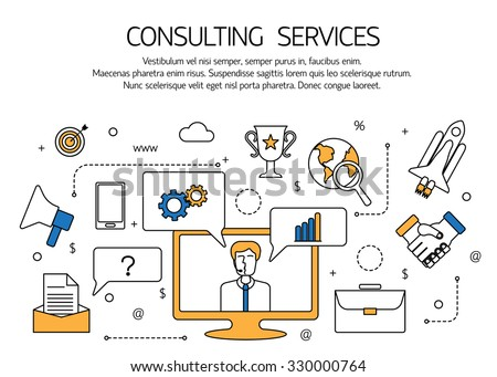 Consulting services outline concept,  technical support, online call center. Vector illustration. - stock vector
