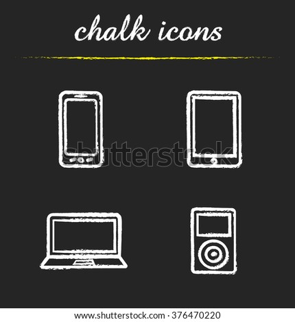 Consumer electronics chalk icons set. Smartphone and tablet computer. Laptop and mp3 player. Multimedia electronic gadgets. White illustrations on blackboard. Vector chalkboard logo concepts - stock vector