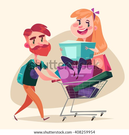 Consumers with a full shopping basket. Vector illustration. - stock vector