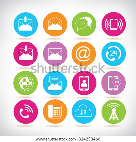 contact and communication icons - stock vector