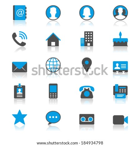 Contact flat with reflection icons - stock vector