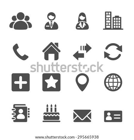 contact icon set, vector eps10. - stock vector