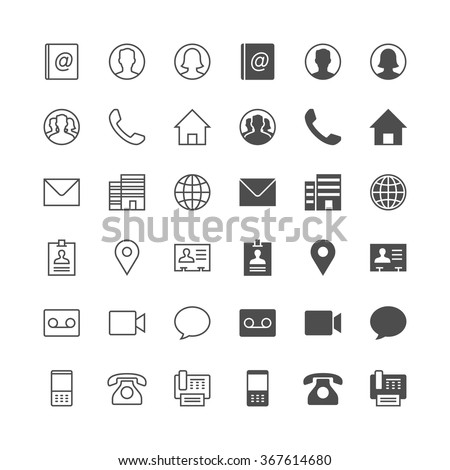 Contact icons, included normal and enable state. - stock vector
