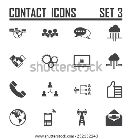 Contact icons on white background, stock vector - stock vector