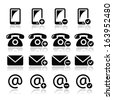 Contact icons set - mobile, phone, email, envelope  - stock vector