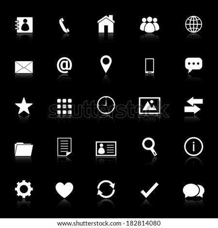 Contact icons with reflect on black background, stock vector - stock vector