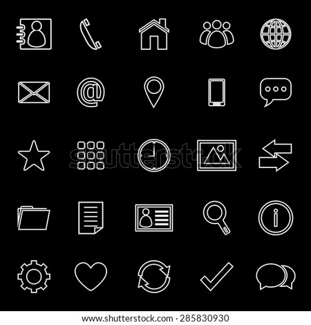 Contact line icons on black background, stock vector - stock vector