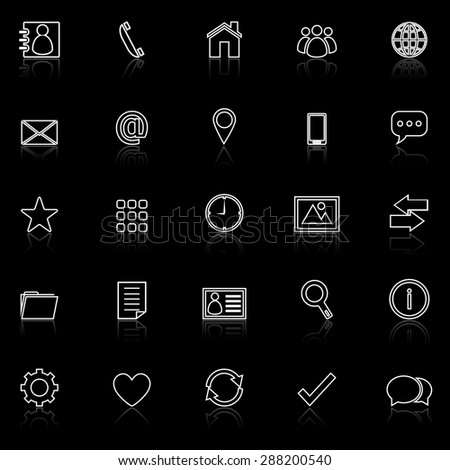 Contact line icons with reflect on black, stock vector - stock vector
