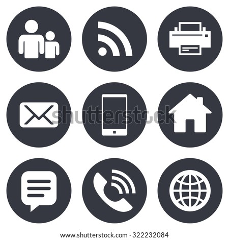 Contact, mail icons. Communication signs. E-mail, chat message and phone call symbols. Gray flat circle buttons. Vector - stock vector