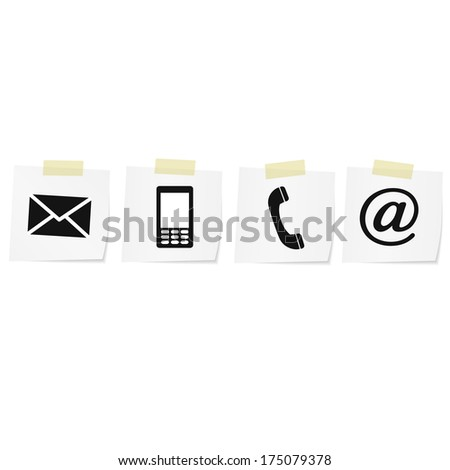 Contact monochrome icons set - envelope, mobile, phone, mail - stock vector