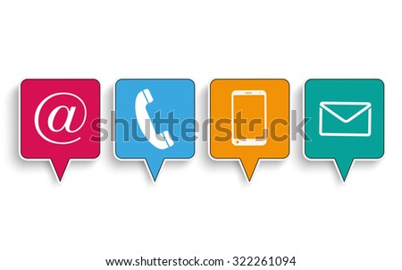 Contact speech bubbles on the white background. Eps 10 vector file. - stock vector