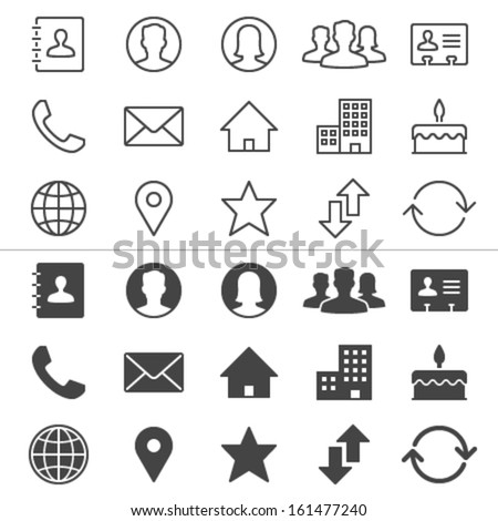 Contact thin icons, included normal and enable state. - stock vector