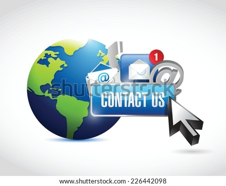 contact us around the globe concept illustration design over a white background - stock vector
