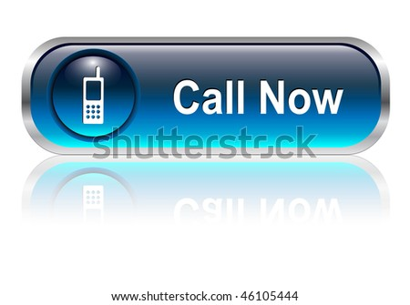 Contact us, call telephone icon, button, blue glossy with shadow - stock vector