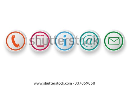 Contact Us circle buttons on the white background. Eps 10 vector file. - stock vector
