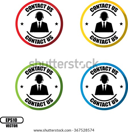 Contact us(Customer care icon) , Button, label and sign - Vector illustration - stock vector