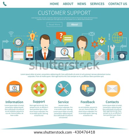 Contact us customer page describing services of online and offline support flat vector illustration  - stock vector