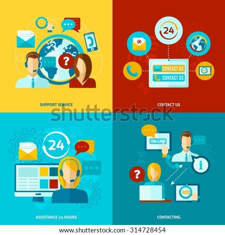 Contact us design concept set with support service flat icons isolated vector illustration