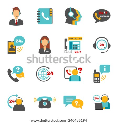 Contact us 24h support call center service flat icons set with operator headphone abstract vector isolated illustration - stock vector