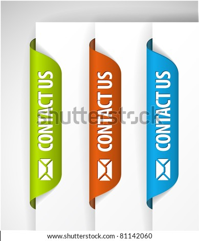 Contact Us Labels / Stickers for the (web) page - stock vector