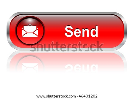 Contact us, mail icon, button, red glossy with shadow - stock vector