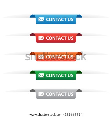 Contact us paper tag labels - stock vector
