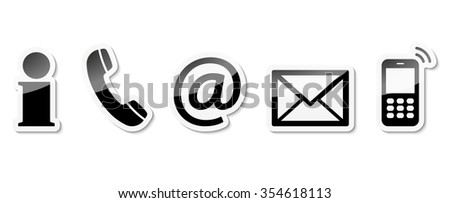 Contact Us set of black colored icons with white frame and reflection