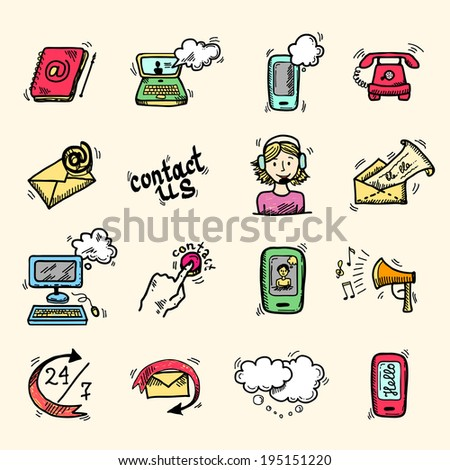 Contact us speech bubbles communication help chat icons set isolated vector illustration.