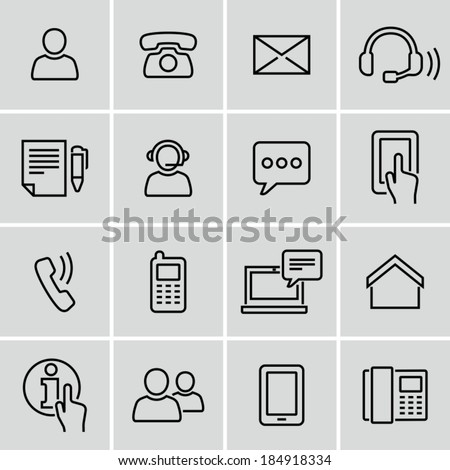 Contact us. Strokes not expanded. Outlines not converted to objects. - stock vector