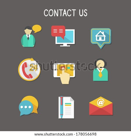 Contact us using phone call email website or mobile application flat icons set isolated vector illustration - stock vector