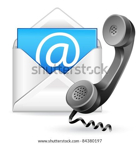 contact us vector icon - e-mail and phone - stock vector