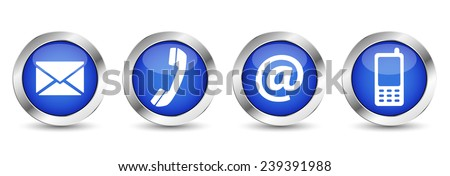 Contact us web buttons set with email, at, telephone and mobile icons on blue silver badge vector EPS 10 illustration isolated on white background. - stock vector