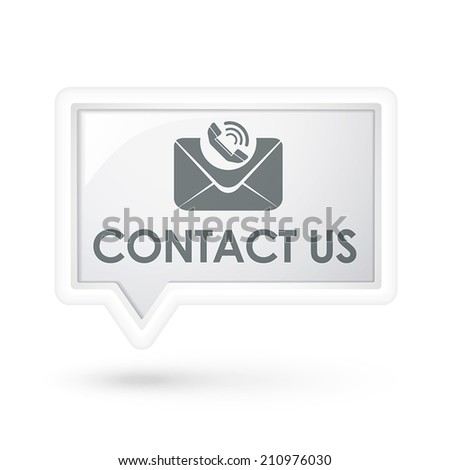 contact us words with mail icon on a speech bubble over white - stock vector