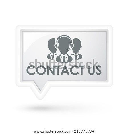 contact us words with services icon on a speech bubble over white - stock vector