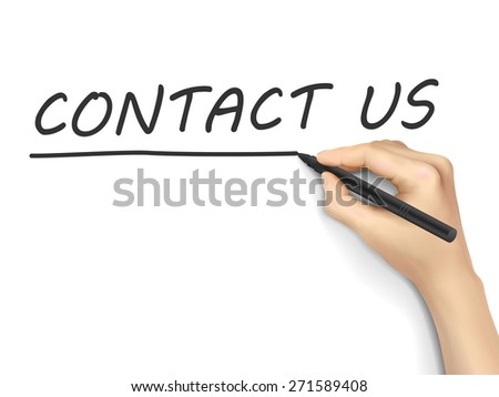 contact us words written by hand on white background - stock vector