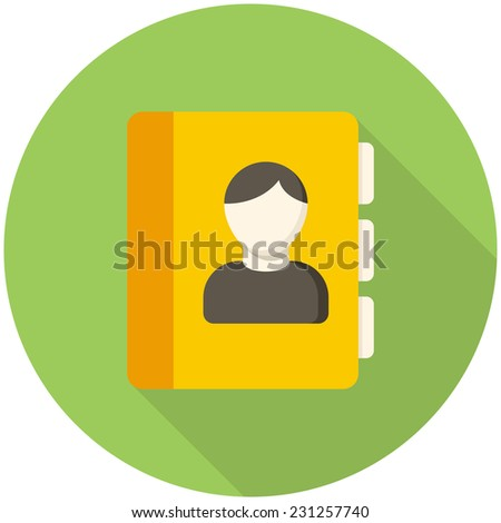 Contacts icon (flat design with long shadows) - stock vector
