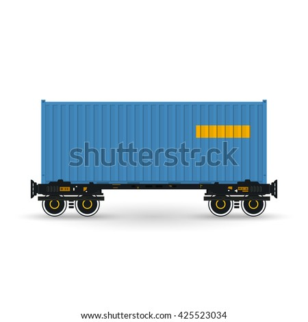 Container, Blue Container on Railroad Platform, Railway and Container Transport,  Platform with Container Isolated on White, Vector Illustration - stock vector