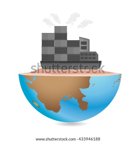 Container ship concept design on white background,vector