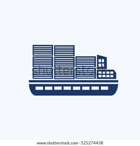 Container ship icon,clean vector