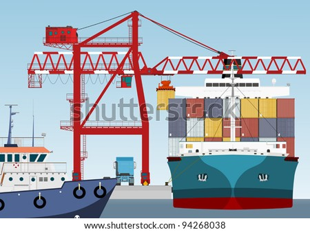 Container ship in port - stock vector