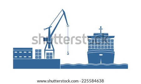 Container ship in the port. Vector illustration - stock vector