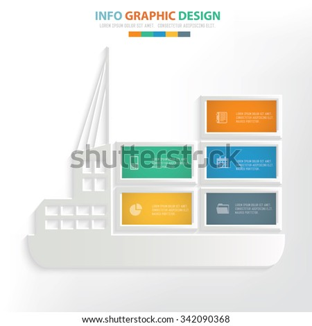 container ship info graphic design. Clean vector. - stock vector