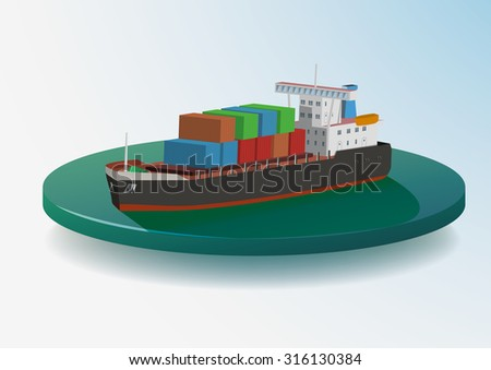 Container ship on water area, vector Color Illustration. - stock vector