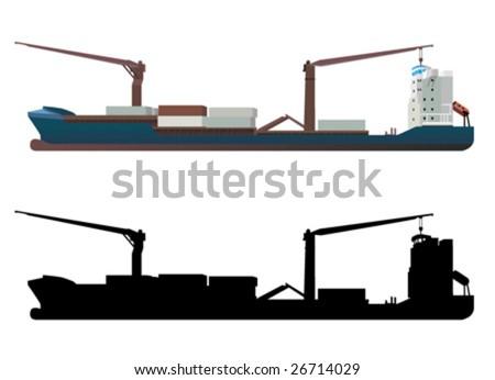 container ship vector - stock vector