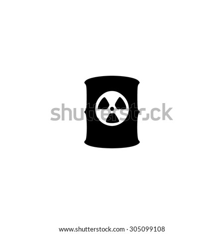 Container with radioactive waste. Black simple vector icon - stock vector