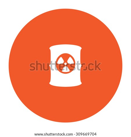 Container with radioactive waste. Flat white symbol in the orange circle. Vector illustration icon - stock vector