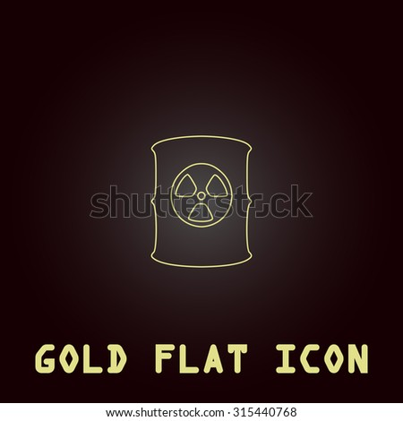 Container with radioactive waste. Outline gold flat pictogram on dark background with simple text.Vector Illustration trend icon - stock vector