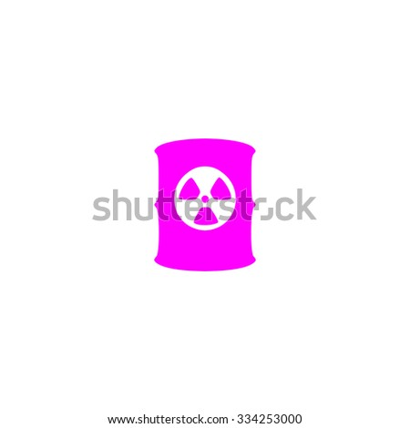 Container with radioactive waste. Pink flat icon. Simple vector illustration pictogram on white background - stock vector