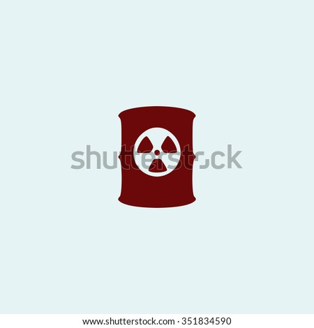 Container with radioactive waste. Red vector icon. Simple modern illustration pictogram. Collection concept symbol for infographic project and logo - stock vector