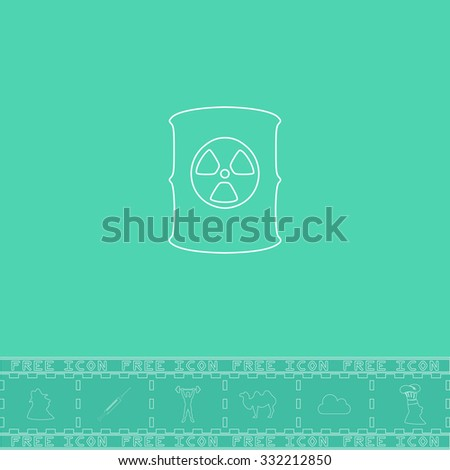Container with radioactive waste. White outline flat symbol and bonus icon. Simple vector illustration pictogram on green background - stock vector